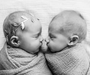 babies, black and white, and twins image
