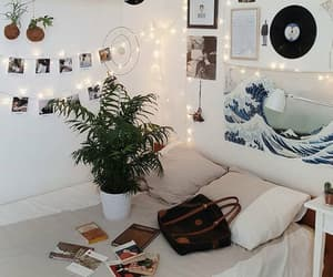 bedroom, books, and plants image