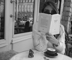 black and white, book, and cafe image