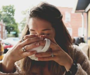 coffee, girl, and hair image