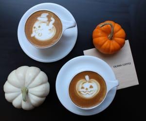 pumpkin, coffee, and Halloween image