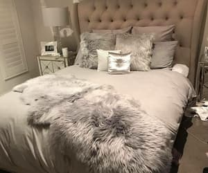 bedroom, grey, and pillows image