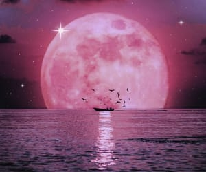 aesthetic, boat, and moon image