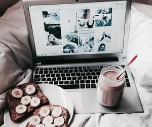 food, laptop, and banana image
