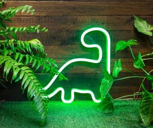 green, neon, and dinosaurs image