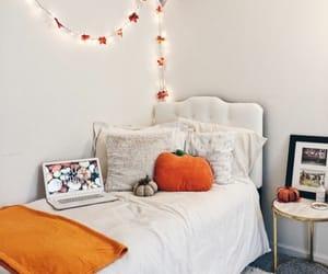 autumn, bedroom, and pumpkin image