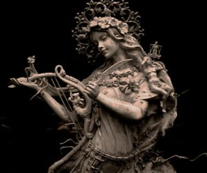 sculpture, angel, and harp image