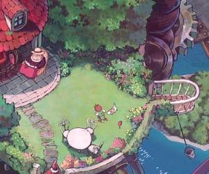 anime, cartoon, and garden image