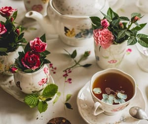 flowers, tea, and rose image