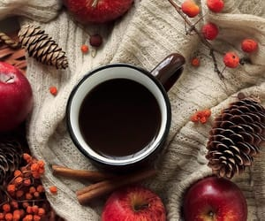 autumn, apple, and coffee image