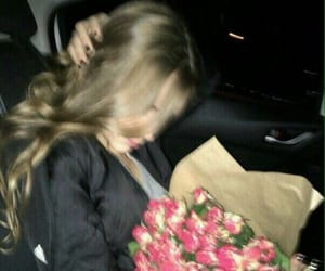 girl, flowers, and night image