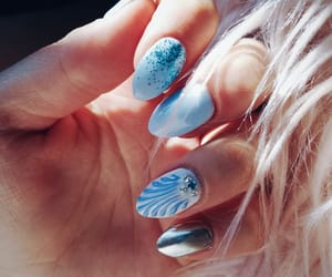 blue, manicure, and mermaid image