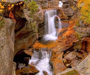 nature, waterfall, and autumn image
