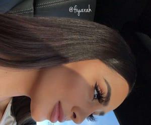 brune brunette, makeup lips eyes, and eyebrow on fleek image