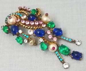 vintage brooch, artisan, and crystals image