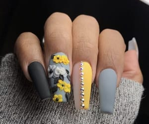 flowers, gray, and nails image