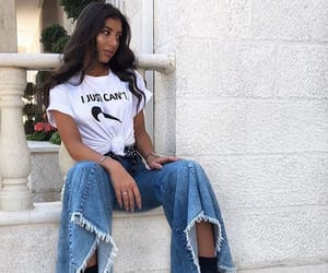 beauty, jeans, and white tshirt image
