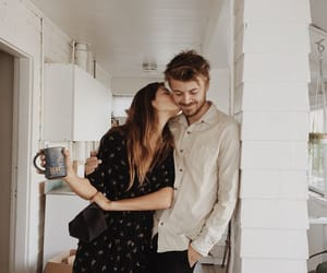 coffee, couple, and kiss image