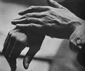 black and white, hands, and man image