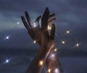 light, hands, and night image