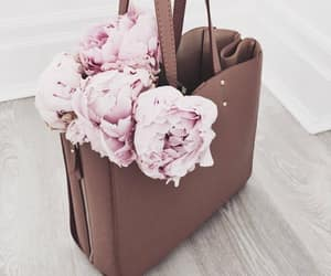 flowers, bag, and pink image