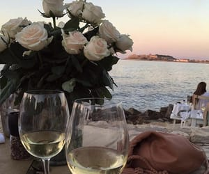 wine, beach, and pink image