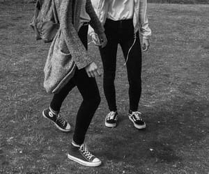 black and white, converse, and girls image