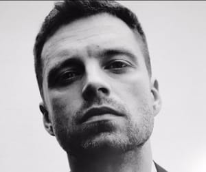 sebastian stan, actor, and black and white image
