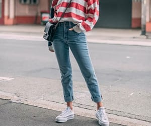 fashion, jeans, and striped sweater image