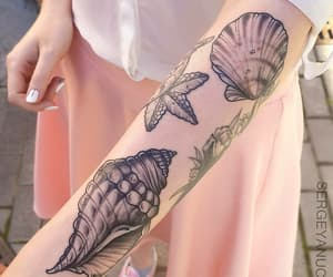 tattoo, mermaid, and pink image