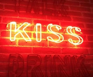 red, kiss, and neon image