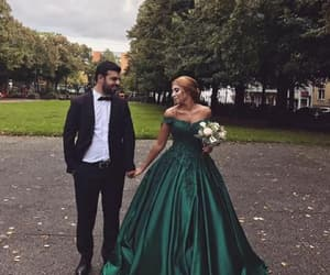 green prom dress, ball gown prom dress, and prom dress lace image
