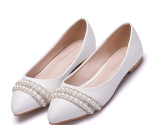 flat, wedding shoes, and pearl rhinestone image