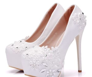 wedding shoes, appliques lace, and stiletto heels image