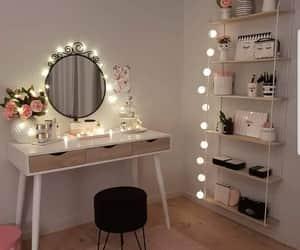 desk, girls, and lights image