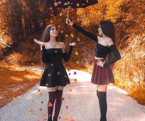 girl, twins, and autumn image