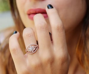 etsy, white gold ring, and gold flower ring image