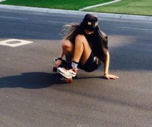 girl, skater, and longboard image