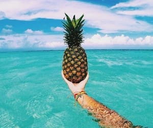 clouds, fruit, and pineapple image
