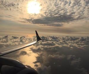 plane, sky, and sunset image