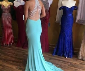 ice blue prom dress and sexy open back prom gown image