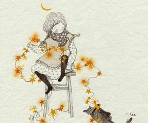 cat, girl, and stars image