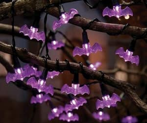 light, purple, and Halloween image
