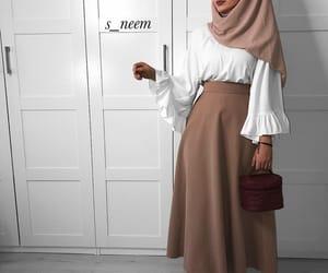 hijab, fashion, and skirt image