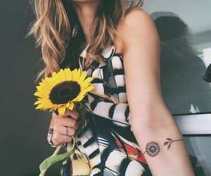 tattoo, girl, and sunflower image