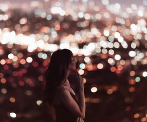 light, city, and girl image
