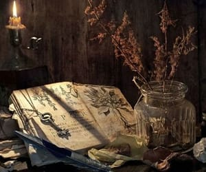 candle, witch, and book image