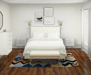 bedroom, carpet, and modern image