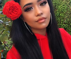 beautiful women, red, and makeup hair image