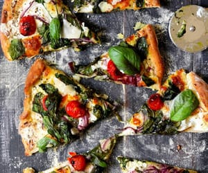 pizza, ricotta, and spinach image
